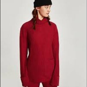 Zara Red Textured Weave Turtleneck Sweater